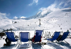 Slopes of Hintertux, Austria. Winter landscape at Hintertux Glacier in Zillertal, Austria Royalty Free Stock Image