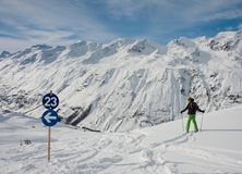 On the slopes of Hohrgurgl. Austria Stock Images