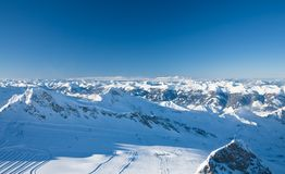 Slopes in Kitzsteinhorn. Kaprun, Austrian Alps Royalty Free Stock Image