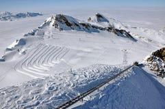 Slopes in Kitzsteinhorn ski resort, Austrian Alps Royalty Free Stock Image
