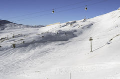 Slopes and lifts. Some slopes and lifts in the Deux Alpes ski resort. France royalty free stock image