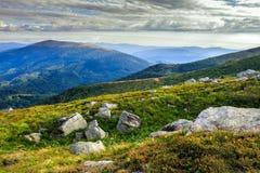 Slopes of mountain strewn with stones Royalty Free Stock Image
