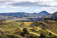 Slopes and plains colorful crop near Zumbahua Royalty Free Stock Photography