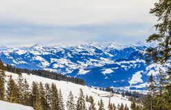On the slopes of the ski resort Brixen im Thalef. Tyrol. Austria Stock Photos