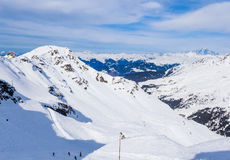 On the slopes of the ski resort of Meribe Royalty Free Stock Image