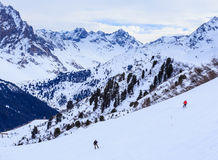 On the slopes of the ski resort of Meribe Stock Photos
