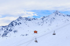 On the slopes of the ski resort of Meribel Royalty Free Stock Photo