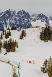 On the slopes of the ski resort Scheffau.Tyrol Royalty Free Stock Image