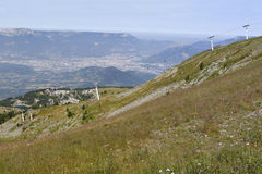 Slopes of a ski resort in summer Stock Photo