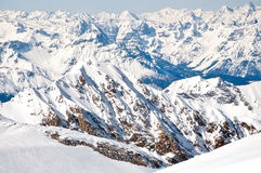 Slopes on a skiing resort in the Alps Stock Photography