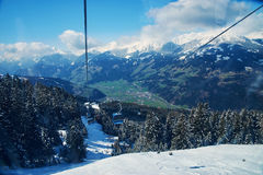 Slopes of skiing resort Royalty Free Stock Images