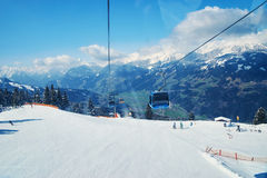 Slopes of skiing resort Stock Images
