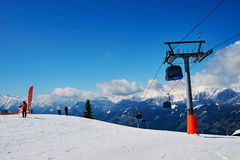 Slopes of skiing resort Royalty Free Stock Image