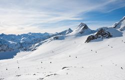 On the slopes of Solden. Austria Royalty Free Stock Photo