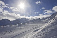 On the slopes of  Solden. Austria Royalty Free Stock Image