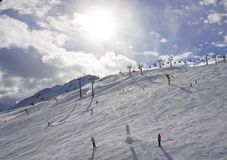 On the slopes of  Solden. Austria Royalty Free Stock Photography