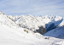 On the slopes of  Solden. Austria Stock Photo