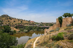 The slopes of the Tagus river. The view near the bridge of St. Martin in Toledo, Spain. May 2006 Stock Photography