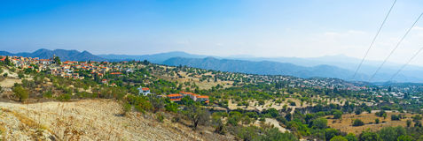 The slopes of Troodos. The landscape of the slopes of Troodos mountains with the Lefkara village on the background, Cyprus Stock Photography