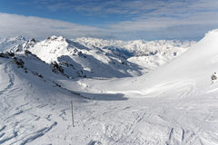 Slopes in the 3 Valleys in France. Les Trois Vallées is a ski region in the Tarentaise Valley, Savoie department of France, to the south of the town of Moutiers Stock Photos
