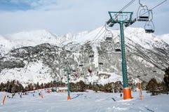 Slopes of Winter Resort El Tarter in Andorra Stock Photo