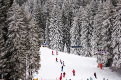 Slopes of winter touristic resort in Kopaonik, Serbia. Slopes of winter touristic resort in Kopaonik - a largest mountain range in Serbia. It is a national park Royalty Free Stock Photo