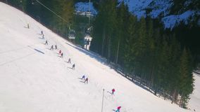 The slopes of Zwieselalm mountain with ski pistes, Gosau, Austria stock video footage