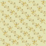 The sloping background, floral. Orange, blue and leaves, khaki thin outlines on a beige background Royalty Free Stock Photo