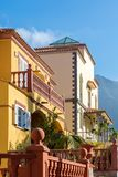 Front views of two beautiful residential buildings in the Mediterranean style royalty free stock photos