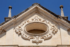 Sloping roof, architecture. Rose hole church window Stock Photo