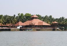 Sloping roof houses of Kerala Backwaters Royalty Free Stock Image