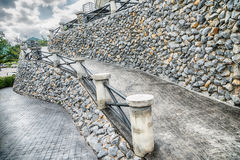 Sloping stone stair steps in vintage style. Royalty Free Stock Photography