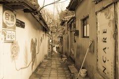 sloppenwijk in Seoel, Korea stock fotografie