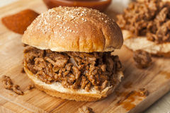 Sloppy Barbecue Beef Sandwich Stock Photo