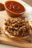 Sloppy Barbecue Beef Sandwich Stock Photography