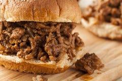 Sloppy Barbecue Beef Sandwich Stock Photos