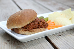Sloppy Joe. On a bun Royalty Free Stock Image