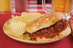Sloppy Joe with beer Stock Photos