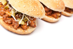 Sloppy Joe burgers in a row Royalty Free Stock Photo