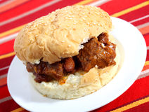 Sloppy joe with chili Royalty Free Stock Photo