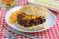 Sloppy Joe with Corn and a Beer Stock Photography