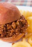 Sloppy Joe & Curly Fries Stock Photos