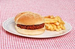 Sloppy Joe With French Fries Stock Photo