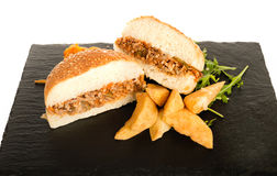 Sloppy Joe Minced Meat Sandwich with French Fries and Green Sala Royalty Free Stock Image