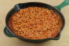 Sloppy Joe mixture in frying pan Royalty Free Stock Photos