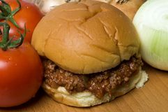 Sloppy joe sandwich with tomatoes onions Royalty Free Stock Photo