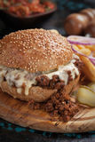 Sloppy joes ground beef burger sandwich Stock Images