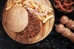 Sloppy joes ground beef burger sandwich Royalty Free Stock Images