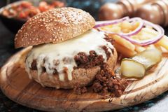 Sloppy joes ground beef burger sandwich Stock Photo