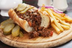 Sloppy Joes ground beef sandwich Royalty Free Stock Images